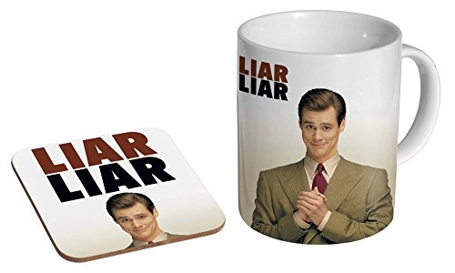 Jim Carey Liar Liar 90s Ceramic Coffee Mug + Coaster Gift Set