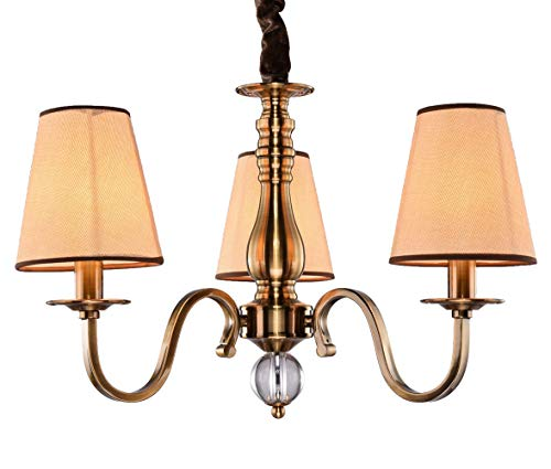 Wenseny finitura in ottone antico lampadario 3 bracci apparecchio a soffitto panno fatto paralume luci di pendente Ø 45cm led 3 * 40w e14