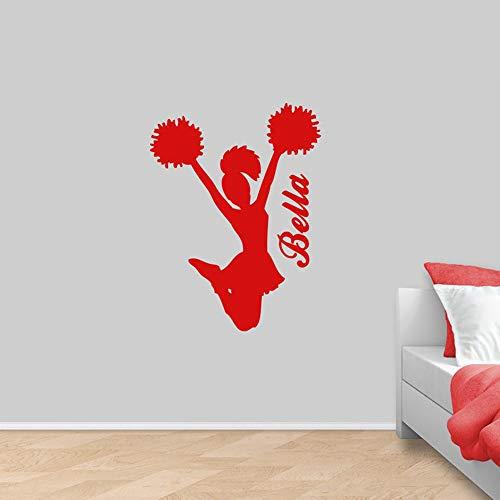 WSYYW Adesivo murale Adesivi personalizzati in vinile Cheerleader Decorazioni da parete per camera da letto Adesivo personalizzato Cheer per auto verde 56x42cm