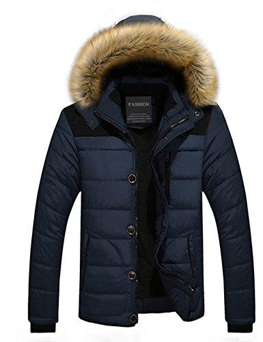 Menschwear Herren Winter Warme Jacke Daunenjacke Daunenjacke mit abnehmbarem Pelzkragenskapuze schlanke Passform (L, Blau)
