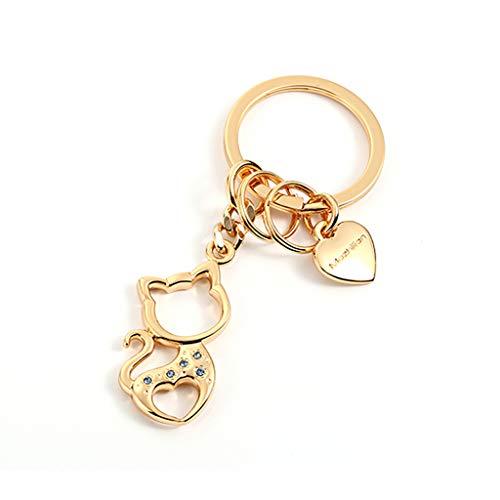 WYY Katze-Nette Keychain-Auto-Schlüsselanhänger-Karikatur-Schlüsselkette-weiblicher kreativer Schlüsselring (Color : Golden)