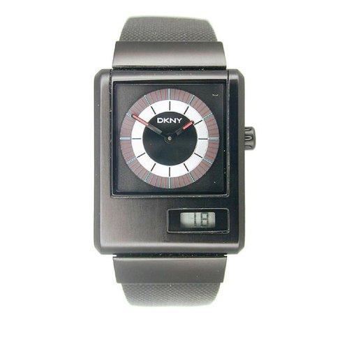 DKNY NY1288 Gents Black Aluminium on Black Canvas Strap Watch