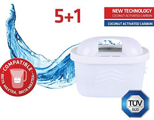 Maxxo+ set di 6 cartucce filtranti compatibili con brita maxtra plus + certificazione tÜv sÜd filtri per l'acqua per un'acqua più pulita e un gusto migliore.