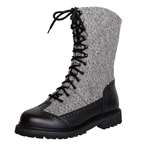 Dachstein Damen Dirndl-Schuhe Alpiner Freizeitstiefel Edelweiss in Grau Trachten-Schuhe, Schuhgröße:37, Farbe:Grau