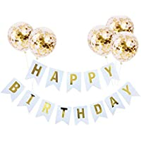 KungFu Mall Birthday Party Decoration Kit, 1 Happy Birthday Banner and 5 Pcs Gold Confetti Balloons for Birthday Party Decorations, Party Supplies