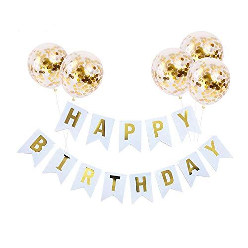 KunFu Mall Geburtstagsfeier Dekoration Kit, 1 Happy Birthday Banner und 5 Stück Gold Konfetti Luftballons für Geburtstagsfeier Dekorationen, Party Supplies
