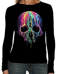 Velocitee Ladies Long Sleeve T-Shirt Colourful Melting Skull A19423