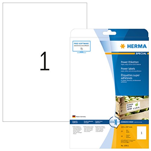 Herma 10911 Universal Etiketten extrem stark haftend (Format DIN A4 210 x 297 mm) weiß, 25 Power Etiketten, 25 Blatt Papier matt, bedruckbar, selbstklebend -