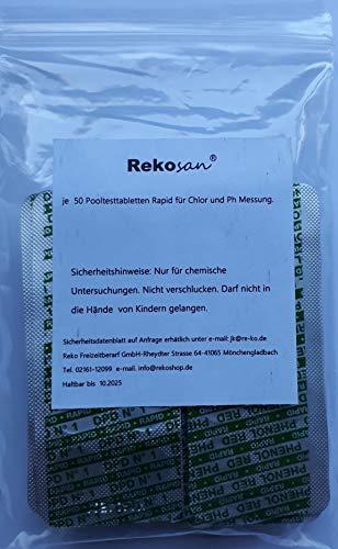 100 Pool Testtabletten von Reko Freizeitbedarf für die Chlor und pH-Wert Bestimmung - 2 x 50 Stück