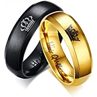 Yellow Chimes Crown Black Stainless Engraved Ring for Girls and Boys
