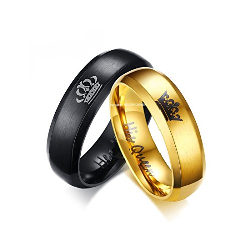 Yellow Chimes Crown Engraved 'King Queen'' Proposal Couple Rings for Girls and...