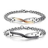 MixMia Liebe Armband für Sie und Ihn Edelstahl Partnerarmbänder mit Buchstabe Gravur 17/21cm