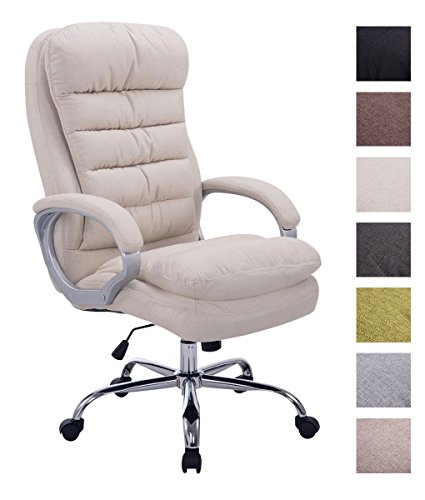 Clp sedia ufficio vancouver xxl in tessuto i poltrona elegante direttore, carico max 235 kg i poltrona ergonomica imbottita e rinforzata i poltrona scrivania ergonomica, alt. regolabile crema