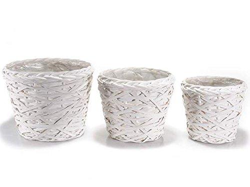 Ideapiu Set 3runde Körbe aus Rattan weiß mit Innen Wasserdicht -