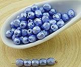 100pcs Pastel de la Perla de Luz Azul Zafiro de Cristal checo Ronda Facetas de Fuego Pulido Bolas Pequeñas Espaciador de 4mm
