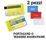 Porta tessere in plastica rigida per carte di credito e tessera magnetica 2pz