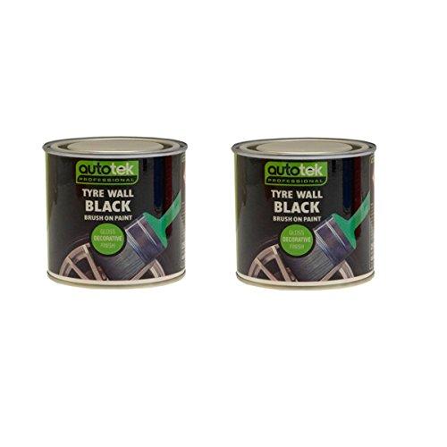 Preisvergleich Produktbild (Pack Of 2) 250ml Reifen Wand schwarze Farbe, Wiederherstellung, Refresh, schützen. Pinsel Auf. Für Reifen, schlamm Klappen, und Trims.