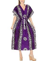 6fe646b364f4 LA LEELA Donne Cotone Kaftan Tunica Batik Kimono Libero Formato Lungo Maxi  Partito Caftano Vestito per