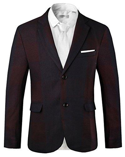 Hanayome - Veste de costume - Parka - Col Chemise Classique - Manches Longues - 100 DEN - Homme Violet