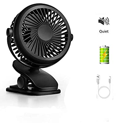 COMLIFE USB Desktop Fan, Mini Portable Clip Fan with Rechargeable Battery, Quiet Portable Table Fan With 3 Speeds, 360° Rotation, Perfect Small Personal Fan for Baby Stroller, Table & Outdoor