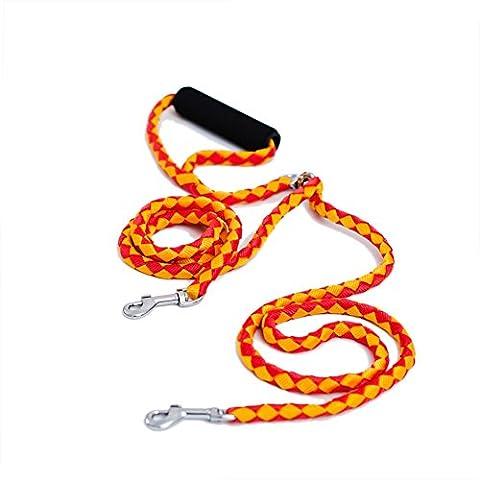 locisne sans enchevêtrement Laisse pour chien double pour 2 chiens en nylon 1,4 m (Orange)