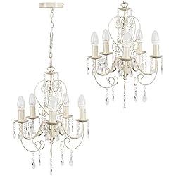Vintage lámpara de techo estilo araña francesa y 5 luces