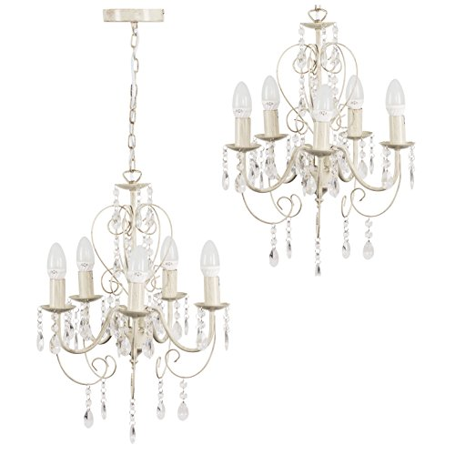traditional cream ornate vintage style shabby chic 5 way ceiling light chandelier with beautiful acrylic jewels - Shabby Chic Chandelier
