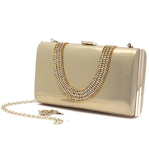 PU Leder Handtasche Abend Unterarmtasche Abendtasche Handtasche mit Elegant Funkelndem Strassbesatz (Rot) Kaxidy WpEE9oDO
