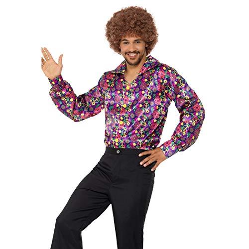 (NET TOYS Buntes Hippiehemd mit Peace-Zeichen | Größe XL (56/58) | Extravagantes Herren-Outfit 60er & 70er Jahre Männerhemd | Perfekt geeignet für Mottoparty & Schlagerparty)