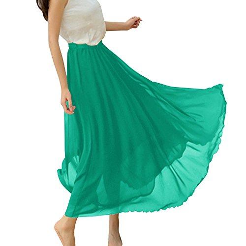 Dressystar Rétro maxi longue Jupe de plage, Jupe longue femme été en mousseline, beaucoup de couleur à choisir. Vert