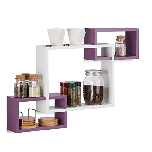 Relaxdays 10021805_749 mensole da parete cube, ripiani in legno mdf, hxlxp: 48 x 70,5 x 10 cm, bianco-viola