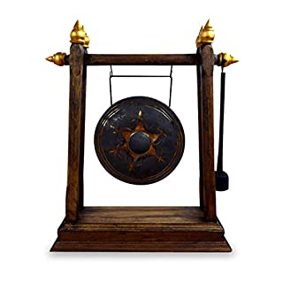 livasia Asian Brass Gong, Buddha Gong with wooden frame for yoga and relaxation, dinner gong, Handmade in Thailand