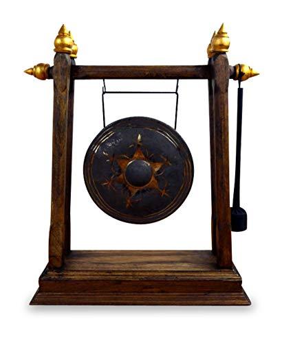livasia Asiatischer Gong Bronzegong mit Holzhalterung und Schlegel (Handarbeit)
