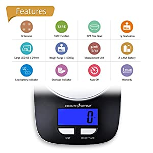 Health Sense Chef-Mate Digital Kitchen Scale-KS33 (Black) 2