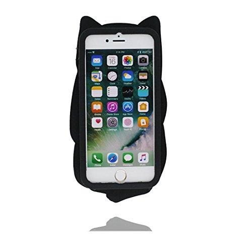 iPhone 6 Plus Custodia, [ TPU protezione Premium Shell ] iPhone 6s Plus Copertura, Cartoon durevole Case Cover per iPhone 6S Plus (3D Nero gatto) Nero