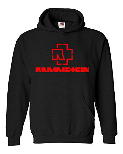 "Felpa Unisex ""Rammstein - red logo"" - Felpa con cappuccio rock band LaMAGLIERIA, M, Nero"