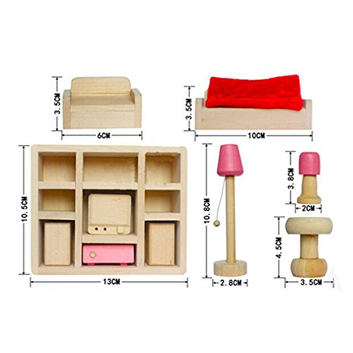Generico Children Wooden Living Room Dollhouse Miniature Furnitures Sofa Cabinet Toy Set Doll Family Pretend Play Accessories by TheBigThumb
