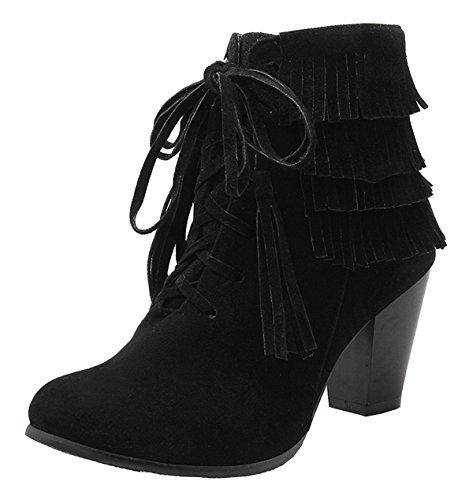 ... Schuhe Short Ankle Boots Schwarz. YE Damen Chunky High Heels Wildleder  Stiefeletten mit Blockabsatz Reißverschluss und Fransen Bequeme Elegant  Herbst ... e19ca645ec