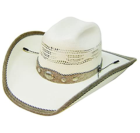 Modestone Traditional Bangora Rodeo Straw Chapeaux Cowboy White
