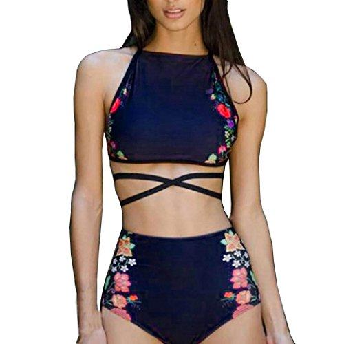 Preisvergleich Produktbild DOLDOA Damen Mädchen Zweiteilige Neckholder Push Up Bikini Set,Blau (Größe: 36 Cup: 65A / 65B /70AA / 70A / 70B)