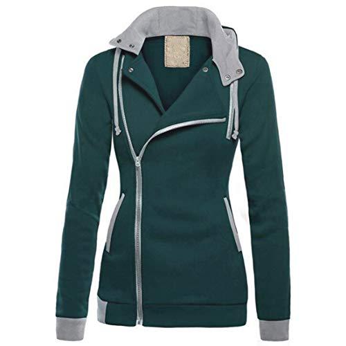 Aiweijia Damen Long Aveeve Aweater Kapuzen Colorblocked Mantel Diagonal Zip mit Tasche Pullover Colorblocked Zip