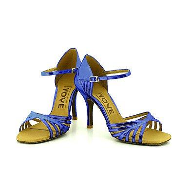 Scarpe da ballo-Personalizzabile-Da donna-Balli latino-americani / Salsa-Tacco su misura-Finta pelle-Nero / Blu / Rosso / Argento / Dorato golden