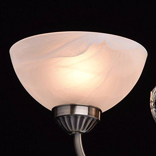 Kronleuchter klein 3 flammig antik messingfarbig matte weiße Glassichrme - 6