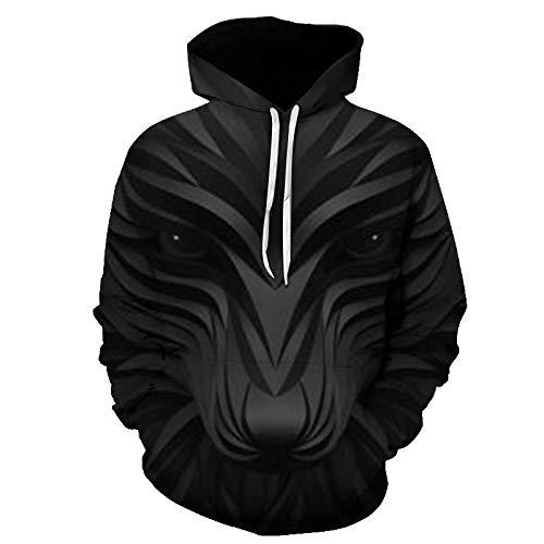 comechen Herren Kapuzenpullover Lebensecht 3D Grafik Hoodie mit Kängurutasche Pullover mit Kapuze Sweat HoodPullover Lone Wolf Mit Kapuze Lässig Y-5104 XXXL