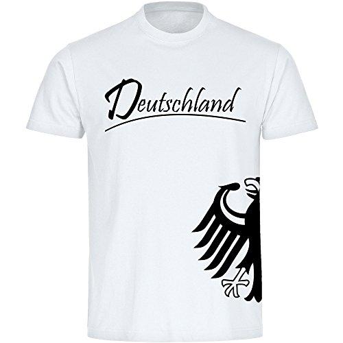 T-Shirt Deutschland Trikot Adler seitlich Herren weiß Gr. S - 5XL - Fanshirt Fanartikel Fanshop Fußball WM EM Germany, Größe:M