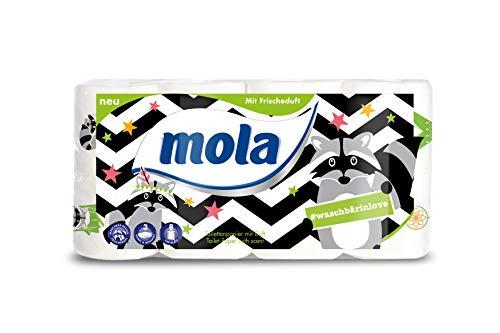 """8 Rollen Mola""""Waschbär"""" Toilettenpapier mit Frischeduft 3-lagig 8x150 Blatt/Rolle"""