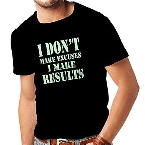 T-shirt pour hommes I make Results - perdre du poids des citations rapides et des énonciations de motivation constructeur de muscle (XXXXX-Large Noir Fluorescent)