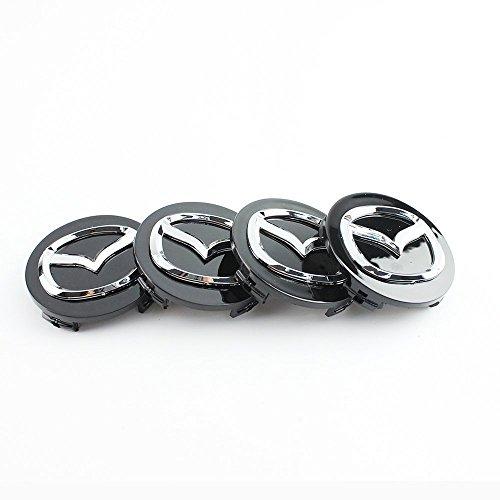 Lot de 4 cache-moyeux de roue Emblème Mazda 56 mm En alliage chromé et en noir