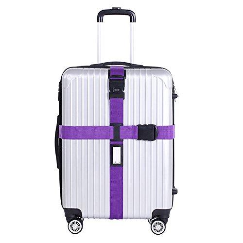 Chickwin Croix de nylon Baguette de bagage Ceinture de bagage réglable Valise de ceinture Emballage de sécurité Verrouillage de mot de passe Courroies de boucle (Violet)