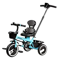 MC-F Kids Tricycle, with Back Storage and Removable Parent Handle Children 3 Wheel Pedal Bike, for 2-6 Years Kids and Toddlers - 80-120 CM,Blue
